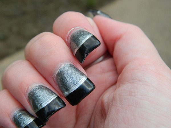 Silver Nails with Wide Black Tips