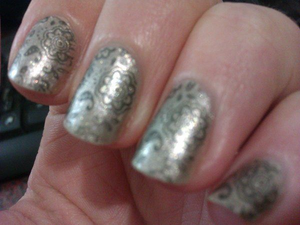 Silver Nails with Silver Designs