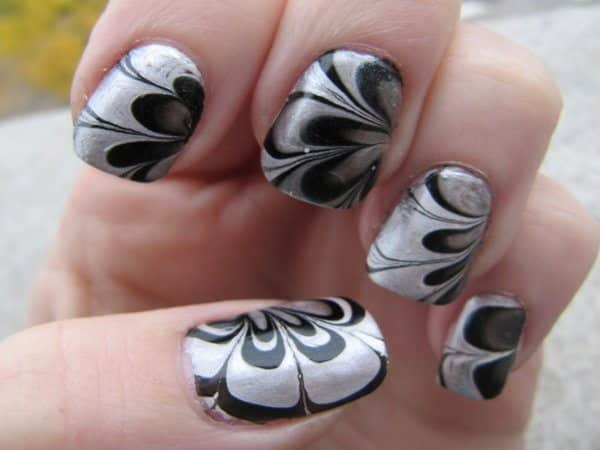Silver and Black Marble Design