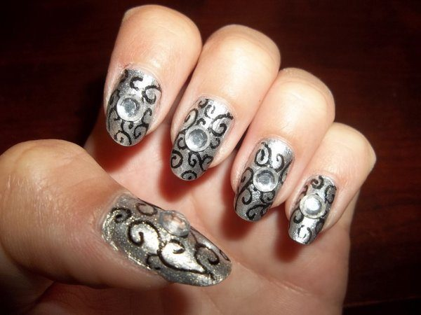 Silver Nails with Black Lines and Rhinestones