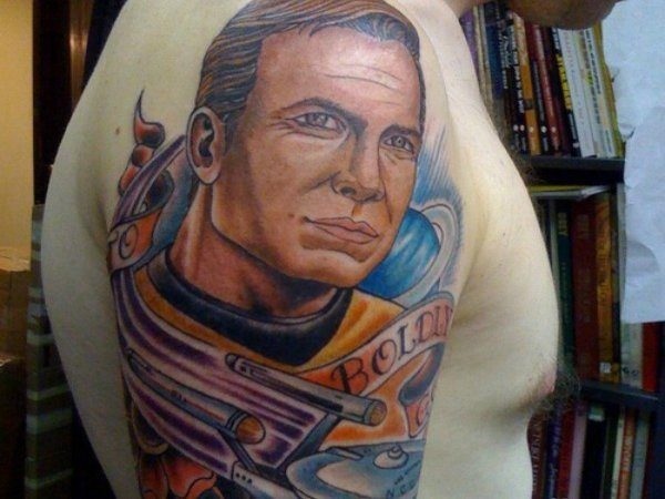 Captain Kirk and Enterprise Colored Tattoo On Arm