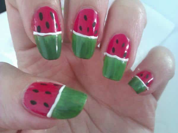 Watermelon nails with Green Rind Tips