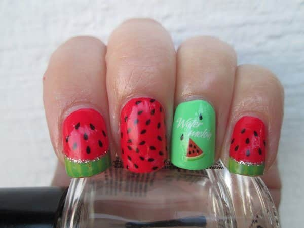 Red and Green Nails with Watermelon Word and Slice