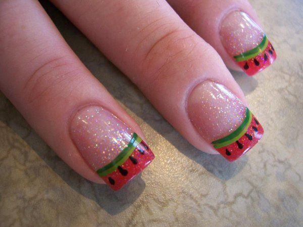 Glitter Nails with Watermelon with Seed Nail Tips