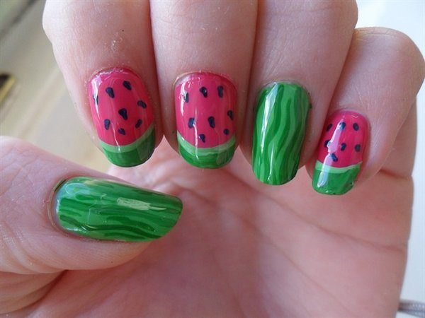 Three Watermelon Nails and Two Rind Tipped Nails