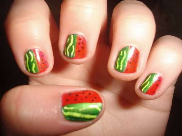 Half Watermelone Nails and Half Green Striped Rind Nails