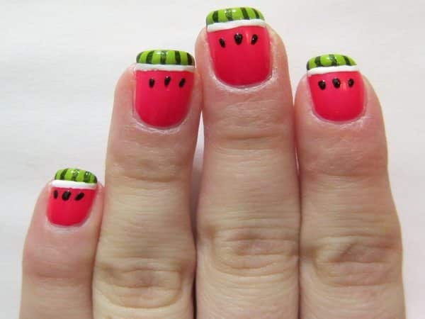 Pink Nails with Black Seed Dots and Green Rind Tips