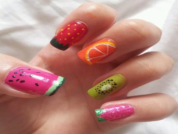 Fruit Nails with Watermelon On the Thumb