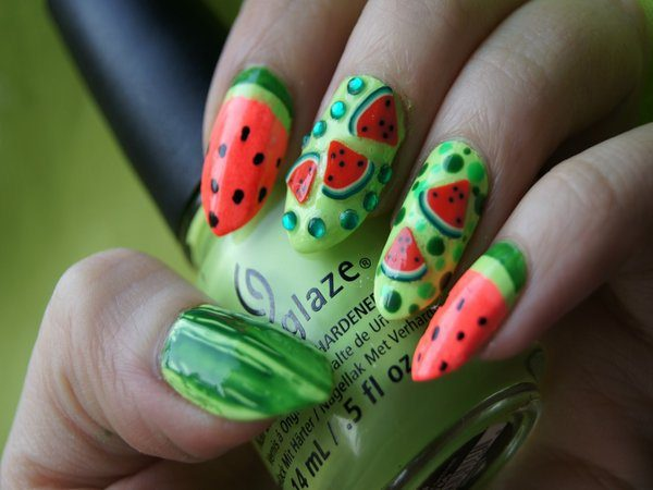 Green Nails with Watermelon slices, Green Dots, and Rhinestones