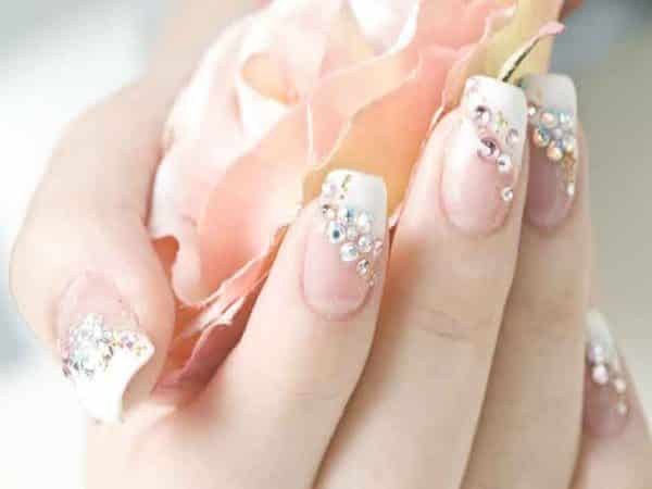 French Manicure Nails with Rhinestones