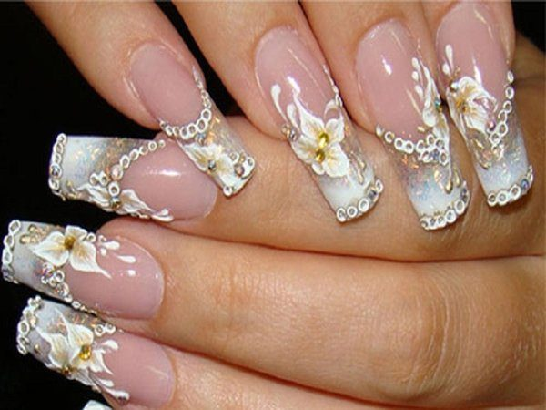 Long French Manicure Tips With