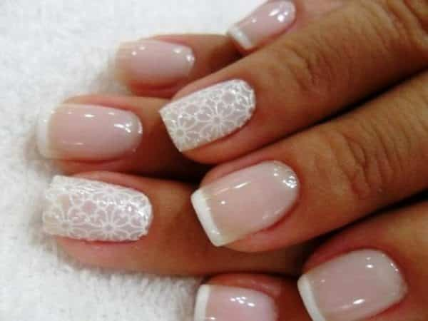 Light Pink and White French Manicure with Single Lacey Nail