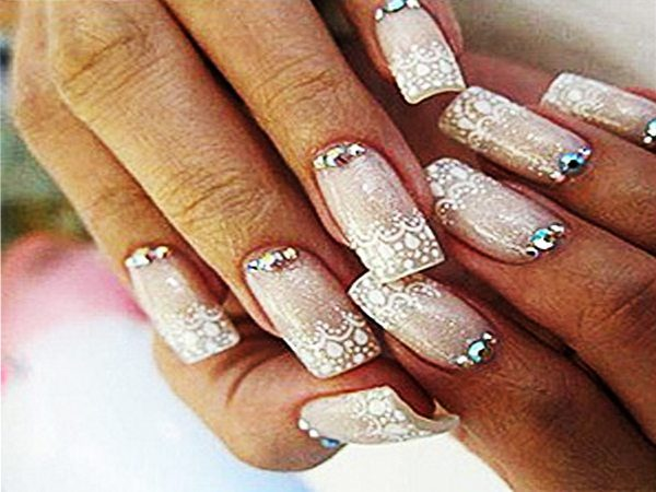 Lacey Tipped Nails with Cuticle Stones