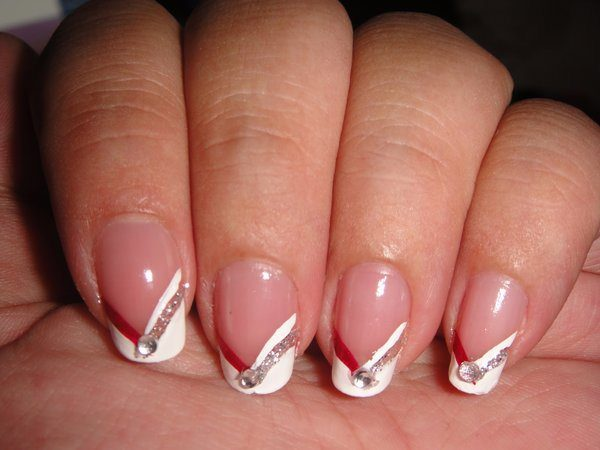 White, and Red Striped Nails with Glitter Streak and Single Rhinestone