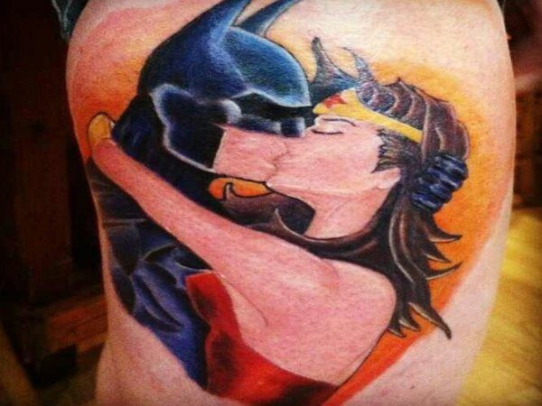 Wonder Woman and Batman Kissing Tattoo