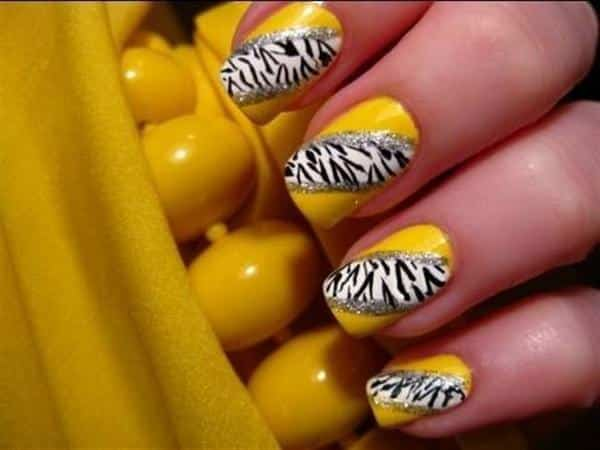 Yellow and Zebra Striped Nails