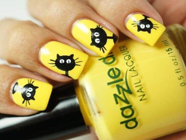 Yellow Nails with Black Cats