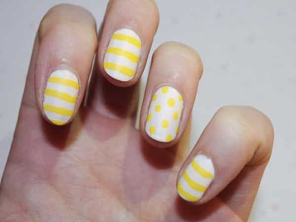 Yellow and White Nails with Yellow Stripes and Polka Dots