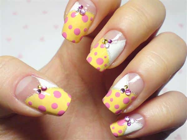 Yellow Spotted Nails with Rhinestones