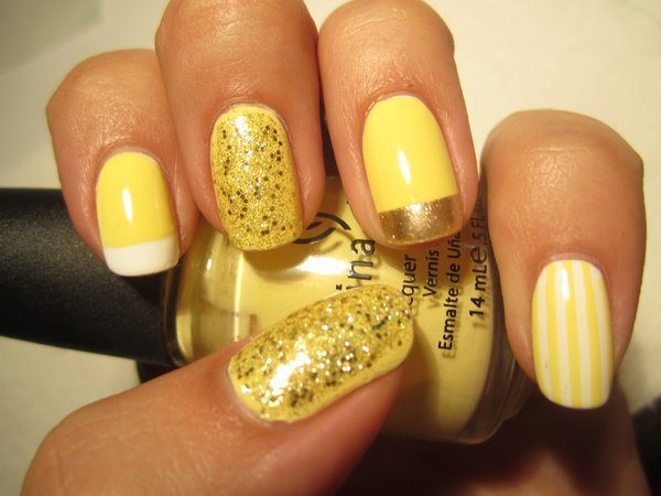 Yellow Glitter Nails with Gold Tip and Yellow and White Stripes