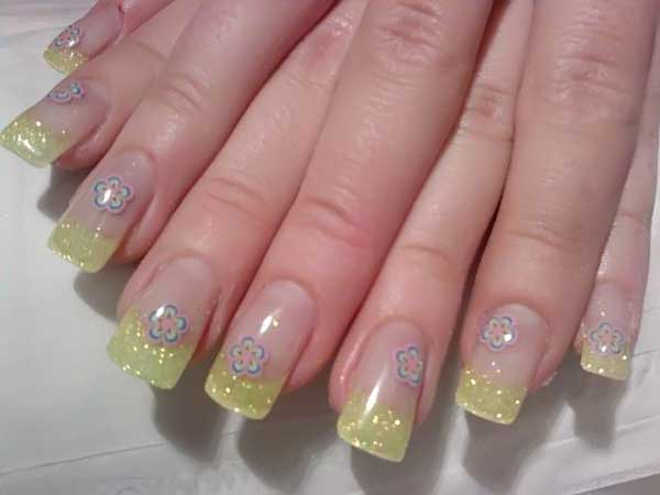 Yellow Glitter Tipped Clear Nails with Purple Flowers