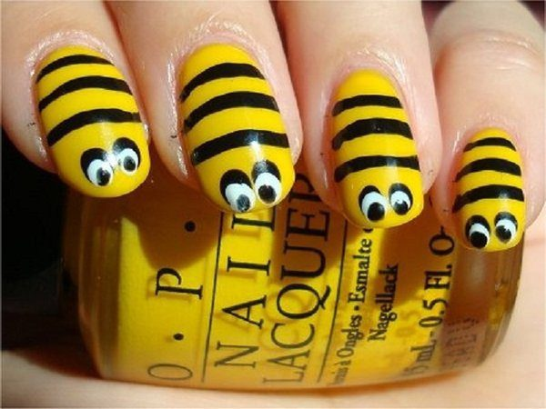Bumblebee Nails with Eyes