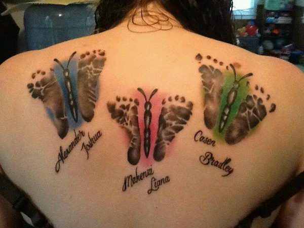 Colored Butterfly Baby Footprints Back Tattoo