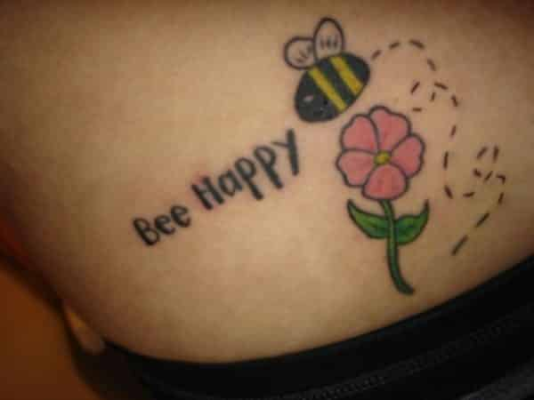 Bee Happy Bee Tattoo with Pink Flower