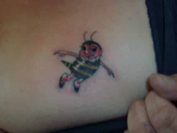 Red Faced Dancing Bee Tattoo