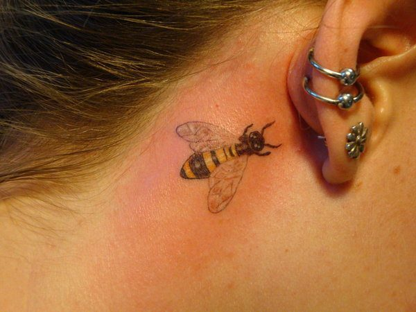 Behind the Ear Small Bee Tattoo