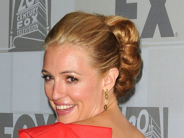 Cat Deeley In Updo and Red One Shouldered Dress
