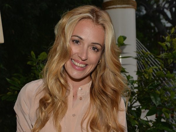 Cat Deeley with Long Hair and Light Pink Shirt