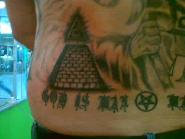Egyptian Triange Pyramid Tattoo On Back