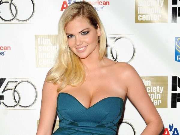 Kate Upton In Blue Strapless Dress