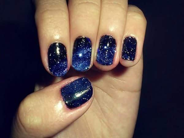 Navy Blue Glitter Nails - 11 Nice Navy Blue Nail Designs
