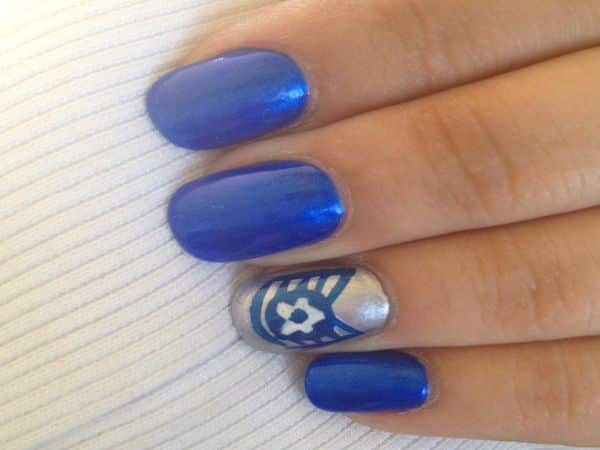Navy Blue Nails with Air Force Design