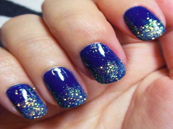 Navy Blue Nails with Glitter Tips