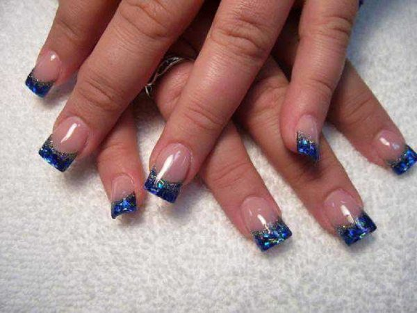 Plain Nails with Navy Blue Glitter Tips
