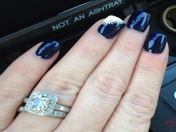 Navy Blue Nails with White Nail Angle Design