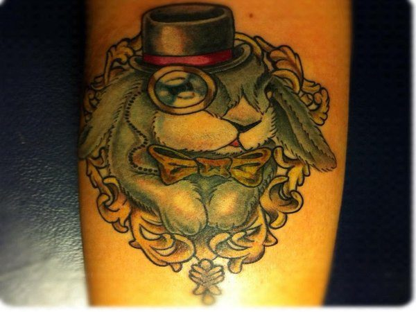 Grey Rabbit with Hat, Monocle, and Gold Bow Tie