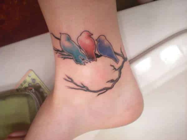 Colored Sparrow Birds on Branch Ankle Tattoo