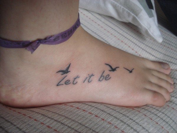 Let It Be Sparrow Side Foot Tattoo