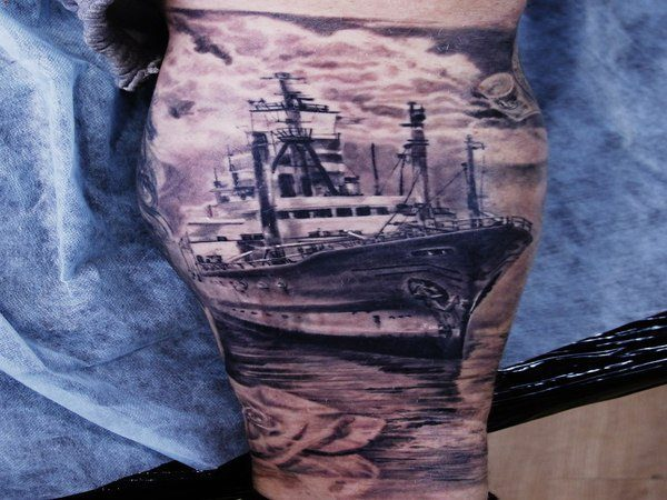 Titanic Ship Tattoo with Iceberg
