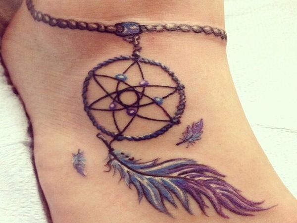Ankle Tattoo of Dream Catcher with Long Feather
