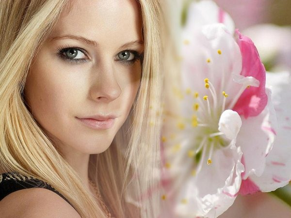 Avril Lavigne Headshot with Flower
