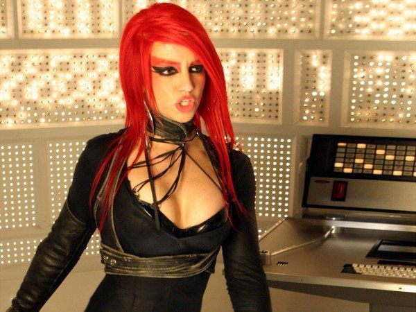 Britney Spears with Long Red Hair and Black Outfit