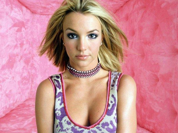 Britney Spears with Short Straight Blond Hair with Purple Spotted Tank Top