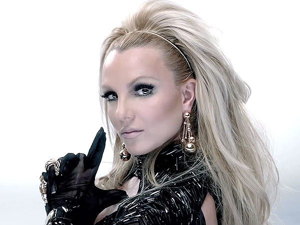 Glamorous Britney Spears with Black Outfit and Big Blond Hair