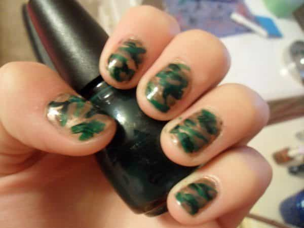Gold Nails with Different Shades of Green Camouflage