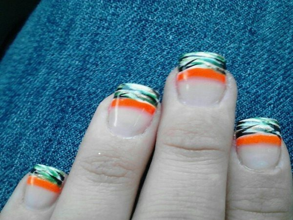 Plain Nails with Green, Black, and Silver Camouflage and One Orange Stripe